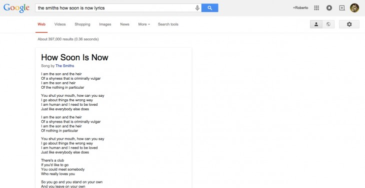 Google now displays song lyrics in search results