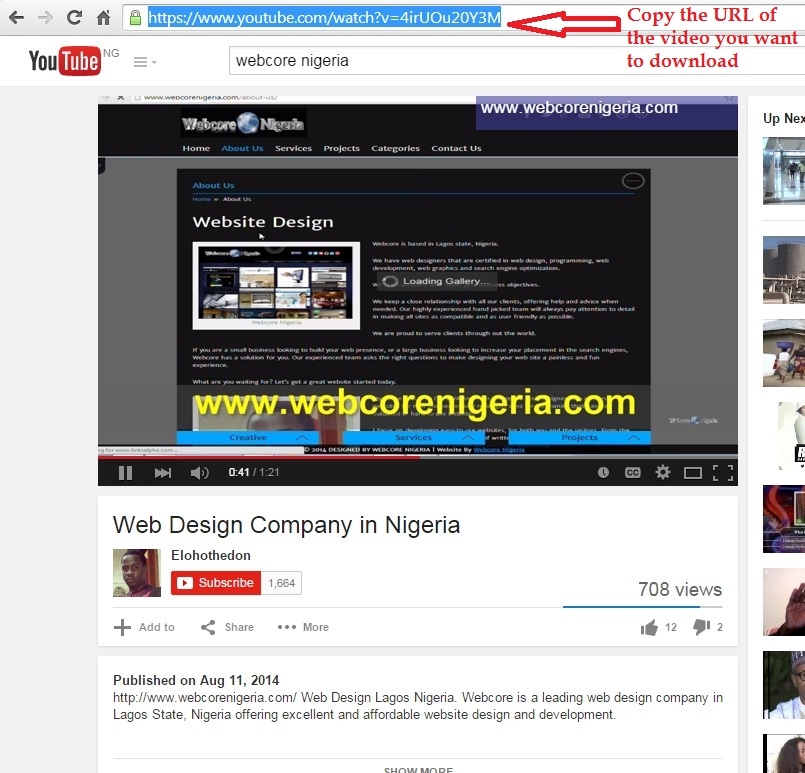 Webcore Nigeria Free YouTube Video Downloader at one click. The best YouTube Downloader supporting fast and easy vimeo, Facebook and Dailymotion video